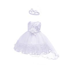 billige Babytøj-Baby Pige Aktiv / Basale Fest / Fødselsdag Ensfarvet Blonder Uden ærmer Asymmetrisk Bomuld / Polyester Kjole Orange