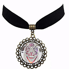 Χαμηλού Κόστους Τσόκερ-Γυναικεία Πεπαλαιωμένο Στυλ Κολιέ Τσόκερ - Tiger Μοντέρνο, Steampunk Λευκό, Μαύρο, Βυσσινί 35.5 cm Κολιέ Κοσμήματα 1pc Για Πάρτι / Βράδυ, Καθημερινά