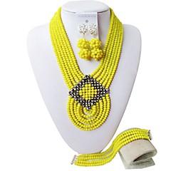baratos Conjuntos de Bijuteria-Mulheres Camadas Conjunto de jóias - Fashion Incluir Strands Necklace Marron / Vermelho / Rosa Para Festa
