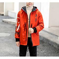 tanie Odzież dla chłopców-Dzieci Dla chłopców Podstawowy Codzienny Solidne kolory Długi rękaw Regularny Bawełna / Poliester Kurtka / płaszcz Czarny 150