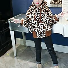 billige Pigetoppe-Børn Pige Basale Daglig / Skole Leopard Langærmet Normal Bomuld / Rayon / Polyester Bluse Brun 140