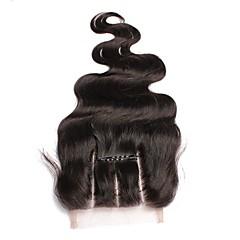 billiga Peruker och hårförlängning-Dolago Brasilianskt hår 4x4 Stängning Vågigt Fria delen / Mittparti / 3 Del Fransk spets Remy-hår / Äkta hår Dam med babyhår / 100 % handbundet / Snörning av snörning