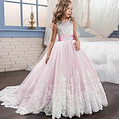 cheap Girls' Dresses-Kids Girls' Active / Sweet Party / Holiday Patchwork Sleeveless Maxi Dress Pink