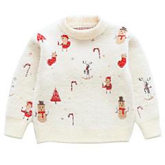 billige Sweaters og cardigans til piger-Børn Pige Basale / Gade Jul / Daglig Trykt mønster Trykt mønster Langærmet Rayon / Akryl Trøje og cardigan Hvid