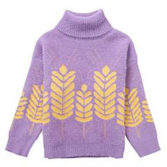 billige Sweaters og cardigans til piger-Børn Pige Basale / Gade Daglig Blomstret Trykt mønster Langærmet Rayon Trøje og cardigan Lilla