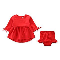 billige Sett med babyklær-Baby Pige Aktiv / Basale Daglig / Ferie Ensfarvet Halvlange ærmer Normal Bomuld / Spandex Tøjsæt Rød 100