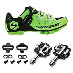 billige Sykkelsko-SIDEBIKE Voksne Sykkelsko med pedal og tåjern / Mountain Bike-sko Nylon Anti-Ryste / Demping, Demping, Anvendelig Sykling Grønn / Svart Herre / Krok og øye