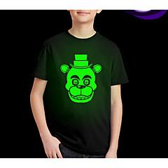 baratos Roupas de Meninos-Infantil Para Meninos Moda de Rua Estampado Manga Curta Padrão Poliéster Camiseta Preto