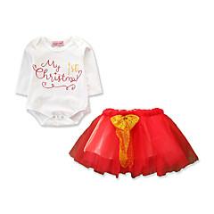 رخيصةأون ملابس الرضع-للفتيات رياضي Active / أساسي قطن بنطلون - طباعة شريطة / شبكة / طباعة أبيض / مناسب للعطلات / طفل صغير