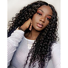 cheap Wigs & Hair Pieces-Synthetic Wig / Synthetic Lace Front Wig Women's Curly / Loose Curl Black Layered Haircut / with Baby Hair Synthetic Hair 24 inch with Baby Hair / Adjustable / Natural Hairline Black Wig Long Lace