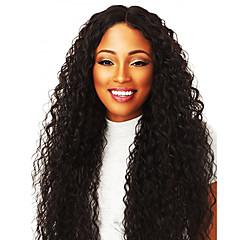 tanie Peruki syntetyczne-Peruki syntetyczne Damskie Afro Kinky Czarny Przedziałek na środku Włosie synetyczne 20inch Nowości Czarny Peruka Długie Bez czepka Naturalna czerń
