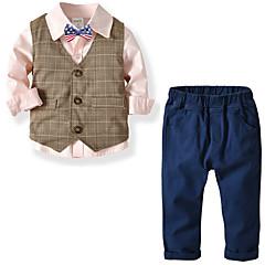 billiga Pojkkläder-Barn Pojkar Grundläggande Enfärgad Långärmad Normal Polyester Klädesset Vit