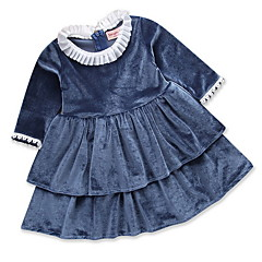 tanie Sukienki dla dziewczynek-Dzieci Dla dziewczynek Podstawowy Solidne kolory Długi rękaw Sukienka Granatowy