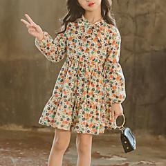 tanie Odzież dla dziewczynek-Dzieci Dla dziewczynek Słodkie Codzienny / Wyjściowe Kwiaty Nadruk Długi rękaw Jedwab wiskozowy Sukienka Beżowy 140