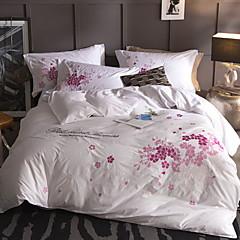 billige Hjemmetekstiler-Sengesett Blomstret / Moderne Bomull Broderi 4 delerBedding Sets