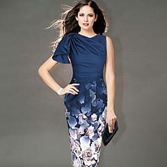 お買い得  新着アイテム-女性用 ベーシック ボディコン ドレス - プリント, 幾何学模様 膝丈