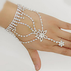 cheap Bracelets-Women's Wrap Bracelet Ring Bracelet / Slave bracelet Rhinestone Silver Plated Imitation Diamond Star Ladies Bracelet Jewelry White For Wedding Party Daily Masquerade Engagement Party Prom