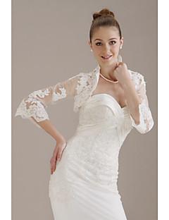 3 4 Length Sleeves Tulle Lace Bridal Jacket Wedding Wrap WSM0401