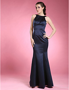 cheap Mother of the Bride Dresses-Mermaid / Trumpet Jewel Neck Floor Length Satin Mother of the Bride Dress with Pleats by LAN TING BRIDE®