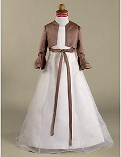 tanie Ślub z motywem przewodnim-Krój A Księżniczka Sięgająca podłoża Sukienka dla dziewczynki z kwiatami - Organza Satyna Długi rękaw Zaokrąglony z Przewiązka / Wstążka