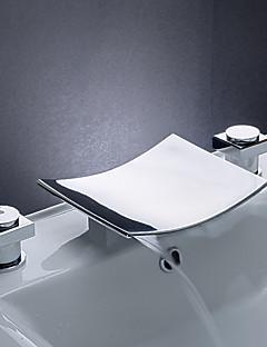 baratos Cascata-Moderna Difundido Cascata Válvula Cerâmica Três Aberturas Duas alças de três furos Cromado, Torneira pia do banheiro