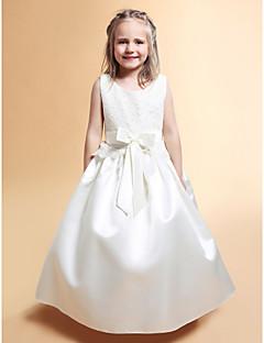 tanie Wytworna kolekcja-Krój A Księżniczka Sięgająca podłoża Sukienka dla dziewczynki z kwiatami - Koronka Satyna Bez rękawów Wycięcie z Kokardki Koronka