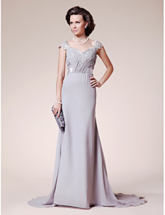 A-Line Straps Court Train Chiffon Lace Mother of the Bride Dress with Beading by LAN TING BRIDE®