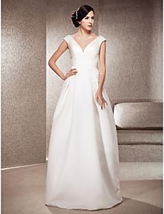 billiga Imperiumbrudklänningar-A-linje / Prinsessa V-hals Golvlång Satäng Bröllopsklänningar tillverkade med Draperad av LAN TING BRIDE®