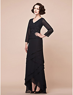 A Line V Neck Asymmetrical Chiffon Mother Of The Bride Dress With Beading Side D By Lan Ting