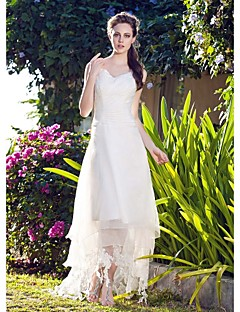 cheap Reception Dresses-A-Line V-neck Asymmetrical Organza Wedding Dress with Lace by LAN TING BRIDE®