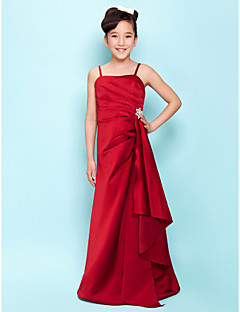 cheap Junior Bridesmaid Dresses-A-Line Spaghetti Straps Floor Length Satin Junior Bridesmaid Dress with Crystal Brooch Cascading Ruffles Side Draping by LAN TING BRIDE®