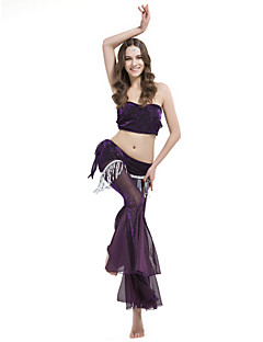 cheap Belly Dance Wear-Belly Dance Outfits Women's Training Polyester Draping Tassel Sleeveless Dropped Top Pants