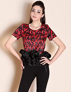 baratos Liquidação em Roupa de Mulher-Mulheres Camiseta Básico Frufru Estampado,Sólido