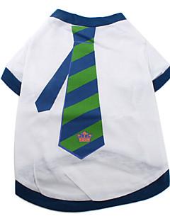 犬のための青い縞模様のコットンシャツネクタイ(XS-M、白)