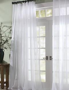 baratos Cortinas Transparentes-Barra no Interior Anéis Presilhas Duplo Plissado Dois Painéis Tratamento janela Modern Sólido Quarto Poliéster Material Sheer Curtains