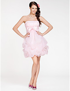cheap Going Neutral-A-Line Ball Gown Strapless Short / Mini Organza Bridesmaid Dress with Bow(s) Pick Up Skirt Criss Cross by LAN TING BRIDE®