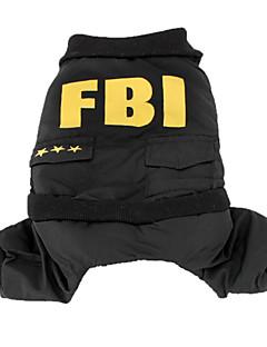 billiga Hundkläder-Hund Dräkter/Kostymer Jumpsuits Hundkläder Polis/Militär Svart Cotton Kostym För husdjur Herr Gulligt Cosplay