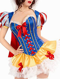 Cosplay Costume Sexy Fairy Tale Snow Princess Halloween Costume Women Patchwork Yellow/Red/Blue Party Dress(3 Pieces)