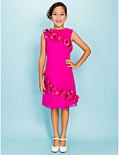 levne Šaty pro mladé družičky-Pouzdrové Klenot Ke kolenům Organza Šaty pro malou družičku s Květiny podle LAN TING BRIDE®