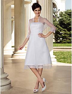 billiga Brudklänningar-A-linje Axelbandslös Knälång Organza Bröllopsklänningar tillverkade med Sidodraperad av LAN TING BRIDE® / Illusion / Ja