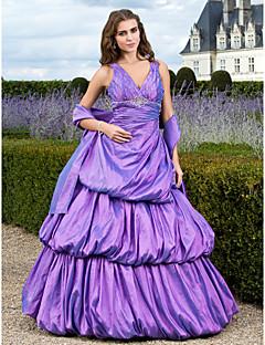 aラインボールガウンの王女のvネックフロアの長さtaffetaプロquinceaneraのドレスでビーズtsのクチュール®