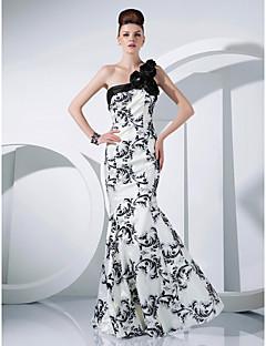 tanie Sukienki kolorowe i wzorzyste-Syrena Na jedno ramię Sięgająca podłoża Tafta Kolacja oficjalna Sukienka z Wzorek / Nadruk / Marszczenia / Kwiat przez TS Couture®