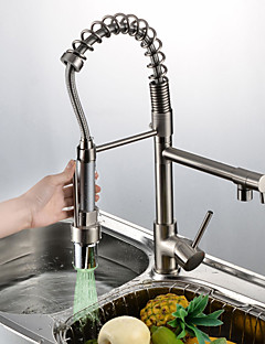 Personalized Contemporary Kitchen Faucet Nickel Brushed Finish Single  Handle LED Pull Out Spout Part 44