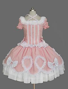 Μονοκόμματο/Φορέματα Γλυκιά Λολίτα Εμπνευσμένο από Βίντατζ Cosplay Φορέματα Λολίτα Πεπαλαιωμένο Κοντομάνικο Μεσαίου Μήκους Φόρεμα Για την