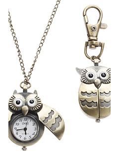 Damen Taschenuhr Halskettenuhr Uhr mit Schlüsselanhänger Modeuhr Quartz Eulen-Art Legierung Band Eule Bronze