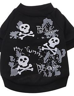billiga Hundkläder-Hund T-shirt Hundkläder Dödskalle Svart Cotton Kostym För husdjur Herr Dam Mode Halloween