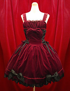 billiga Lolitamode-Klänningar Gotisk Lolita Gotisk Lolita Aristokrat Lolita Svart / Röd Klänning Manchester Kostymer / Kort längd