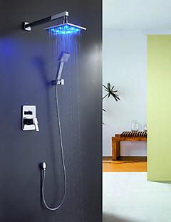 tanie Baterie prysznicowe Sprinkle®-Współczesny  with  Chrom Jeden uchwyt Cztery otwory  ,  Cecha  for Wodospad LED