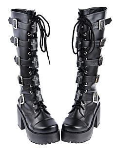 billiga Lolitamode-Skor Gotisk Lolita Gotisk Lolita Punk Lolita Handgjord Högklackat Skor Enfärgad 8 CM Svart Till PU-läder/Polyuretan Läder Polyuretan Läder