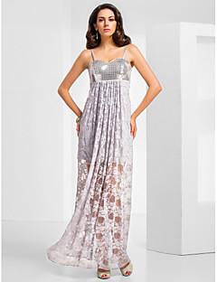 Kappe / kolonne spaghetti stropper kjære gulv lengde blonder sequined kveldskjole med draping av ts couture®